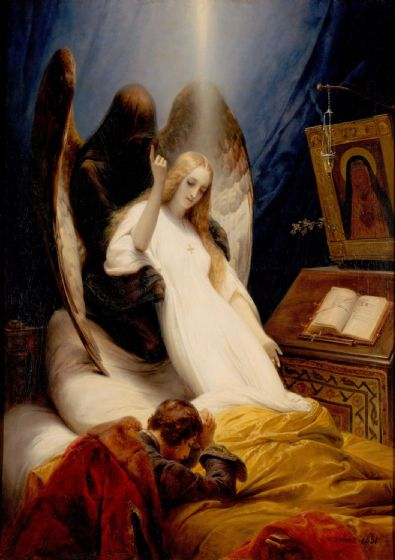 Vernet, Emile Jean Horace: The Angel of Death. Fine Art Print/Poster. Sizes: A4/A3/A2/A1 (004157)